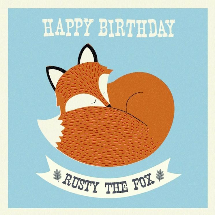 картичка за рожден ден с лисица