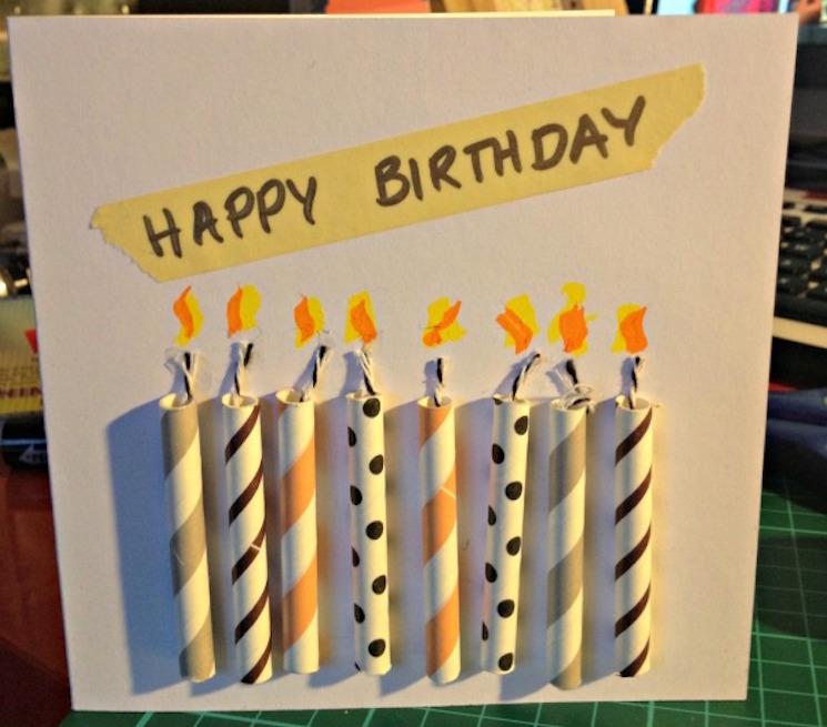картичка за рожден ден със свещи