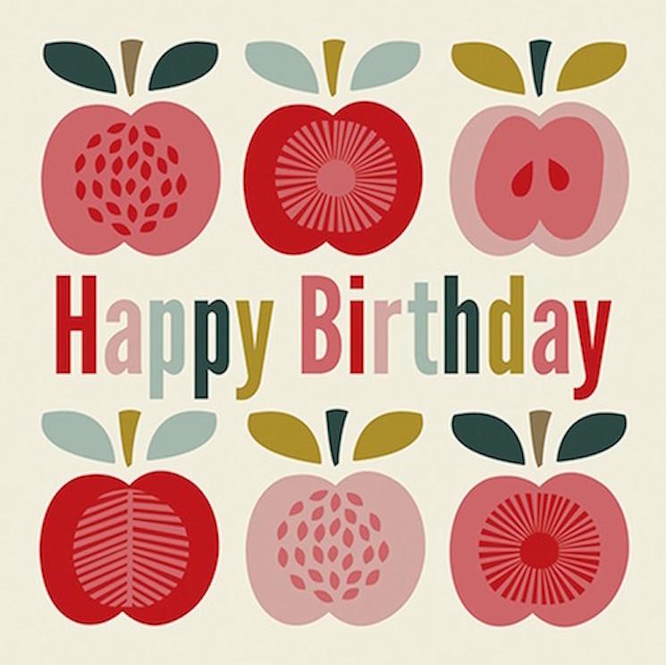 картичка за рожден ден с ябълки