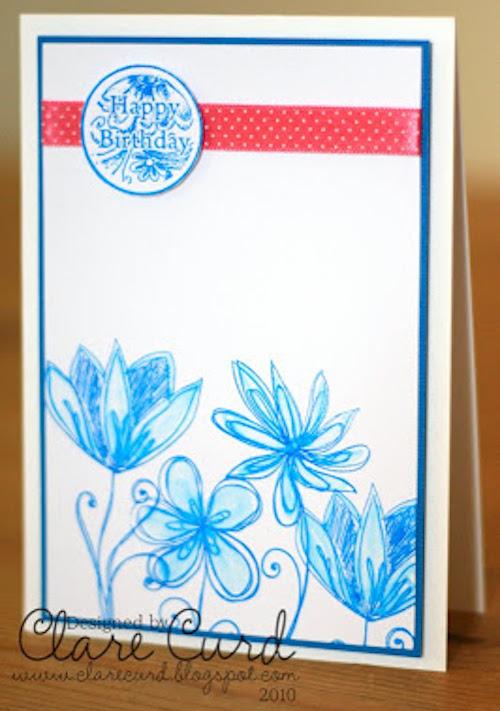 картичка за рожден ден със сини цветя