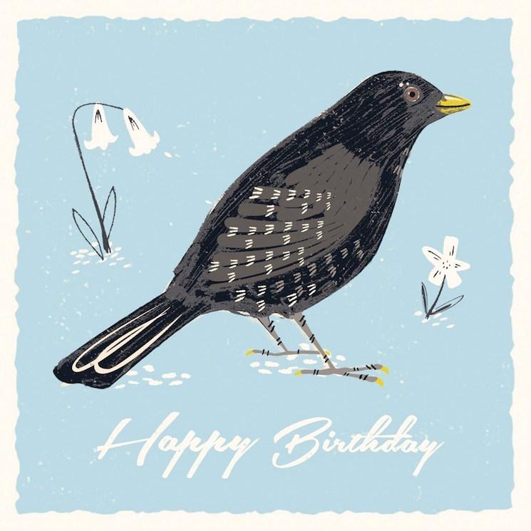 картичка за рожден ден с птица