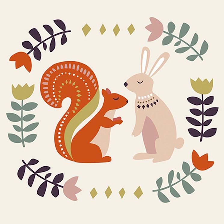 картичка за рожден ден със заек и катерица