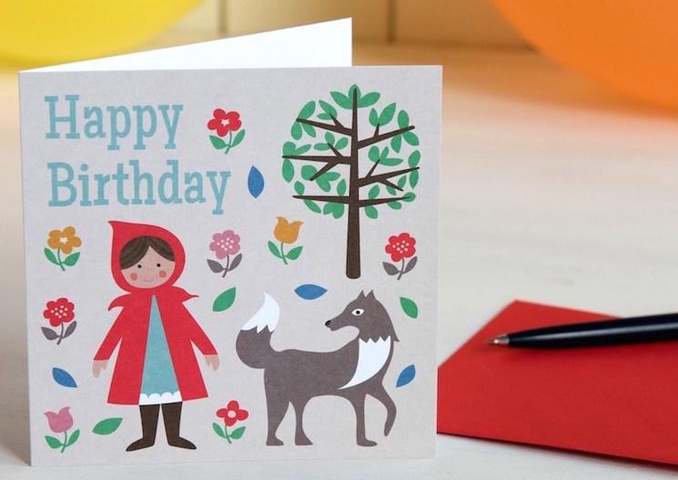 картичка за рожден ден с червената шапчица