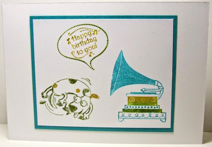 картичка за рожден ден с грамофон