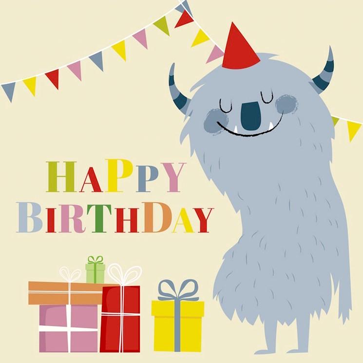 картичка за рожден ден с чудовище